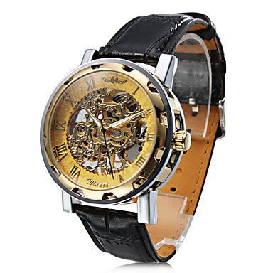 Gatsby Skeleton Premium Watch Stainless Steel Silver Case Golden Face Black Leather Strap Front