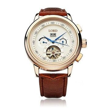 Euston Luxury Designer Watch Tan Leather Strap Gold Face