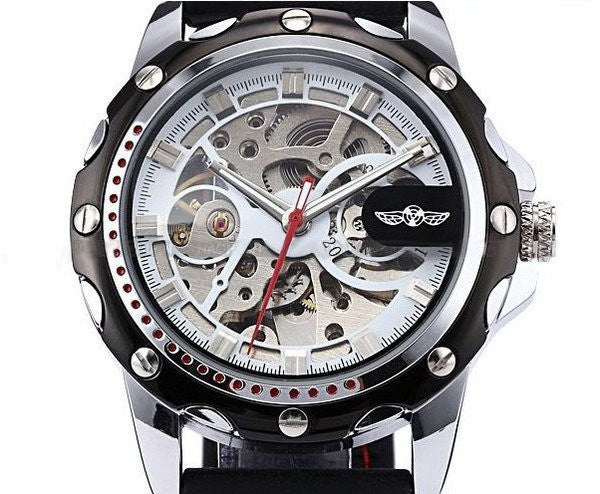 Cemophora Skeleton Premium watches With black Rubber Strap and Red Stitches front