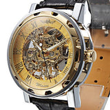 Gatsby Skeleton Premium Watch Stainless Steel Silver Case Golden Face Black Leather Strap