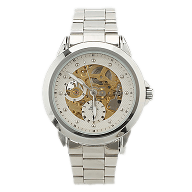 Waterloo Premium White Silver Skeleton Watch