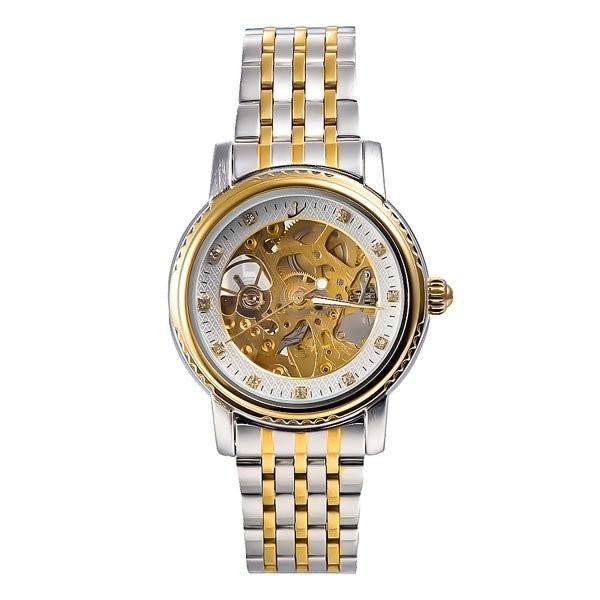 Elixir Chain Two Tone Strap Golden Silver Watch Front