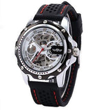Cemophora Skeleton Premium watches With black Rubber Strap and Red Stitches