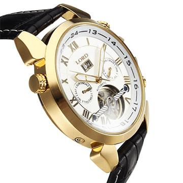Jaguar Men's Watches Golden Case Leather Strap White Face Side