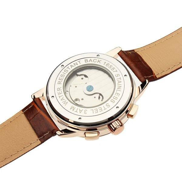 Euston Luxury Designer Watch Tan Leather Strap Gold Face Black