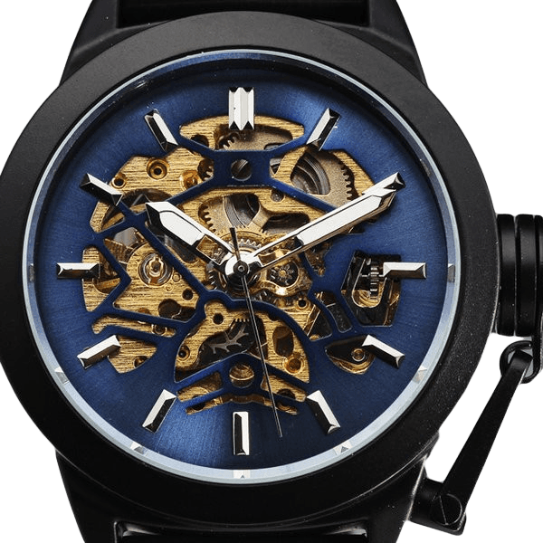 Apollo Skeleton Watch, Automatic Self Wind Watches Black Rubber Band