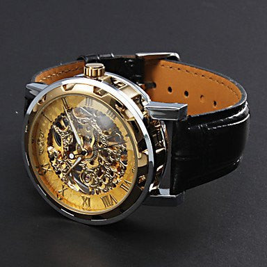 Gatsby Skeleton Premium Watch Stainless Steel Silver Case Golden Face Black Leather Strap Side