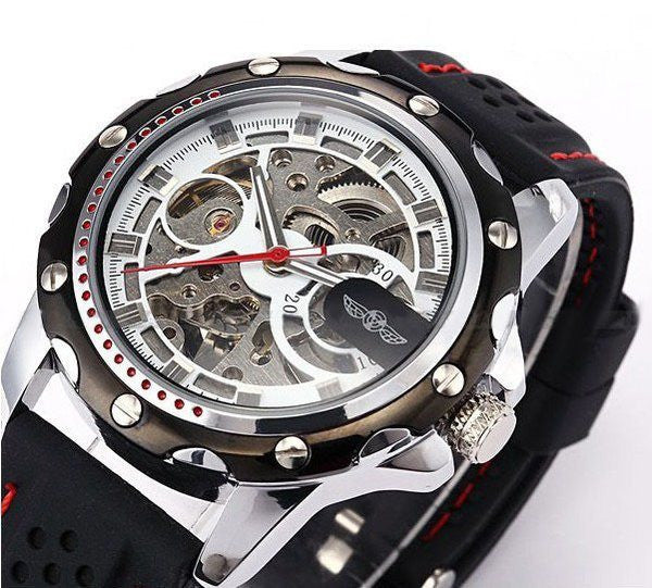 Cemophora Skeleton Premium watches With black Rubber Strap and Red Stitches Face