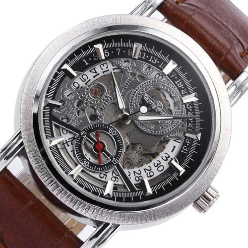 Silver Brown Watch | Men's Watches | Lord Timepieces Close top