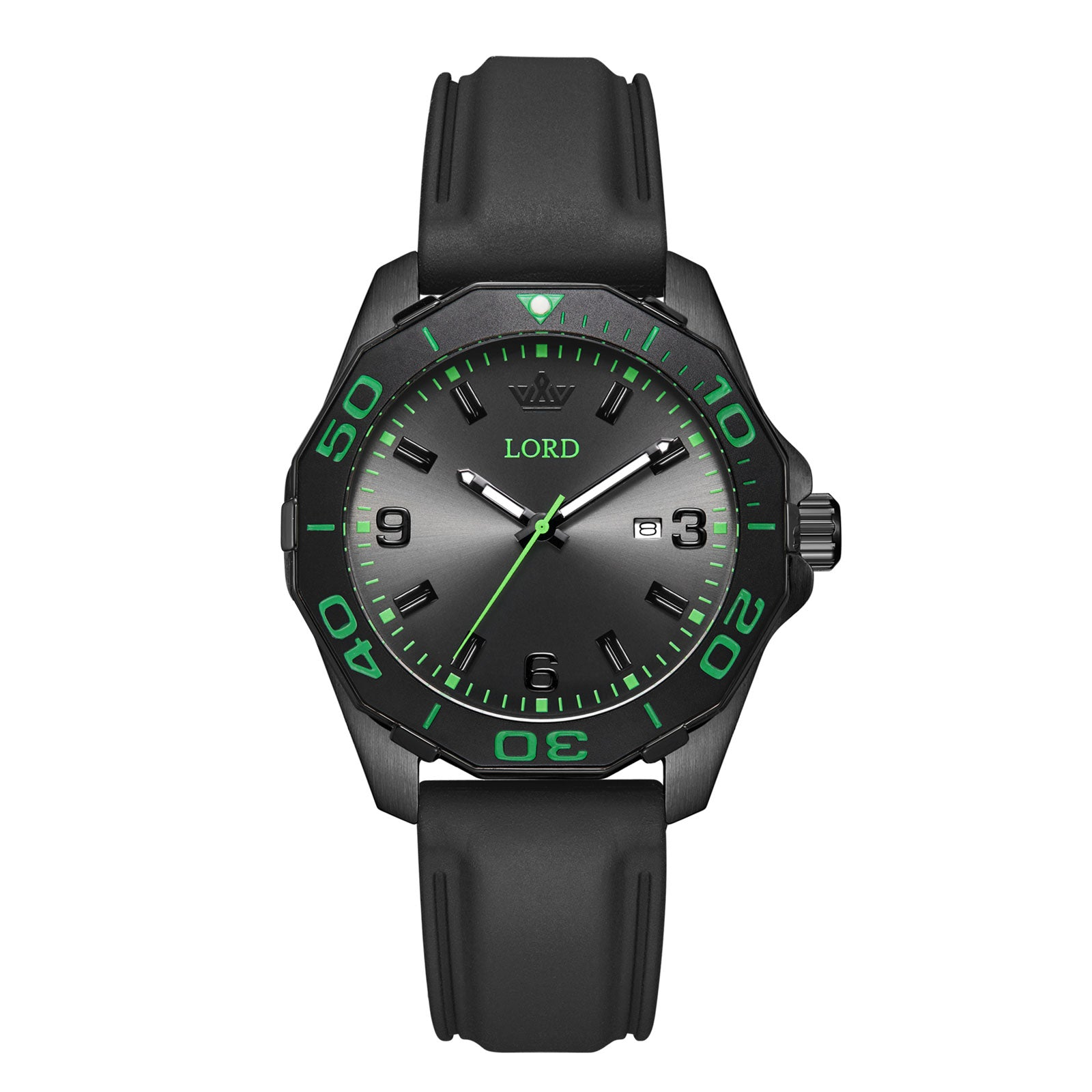 Lordtimepieces-Sport-Black-Green-watch-Front