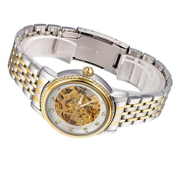 Elixir Chain Two Tone Strap Golden Silver Watch Side