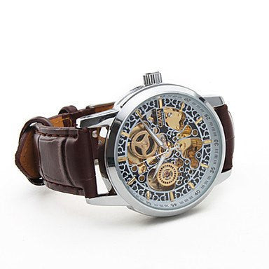 Enigma Skeleton Luxury Watch Leather Tan Strap