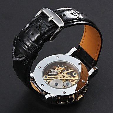 Gatsby Skeleton Premium Watch Stainless Steel Silver Case Golden Face Black Leather Strap Upside Down