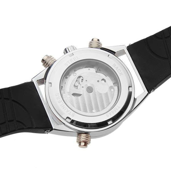 Arctic Watch White Dial Black Rubber Band back