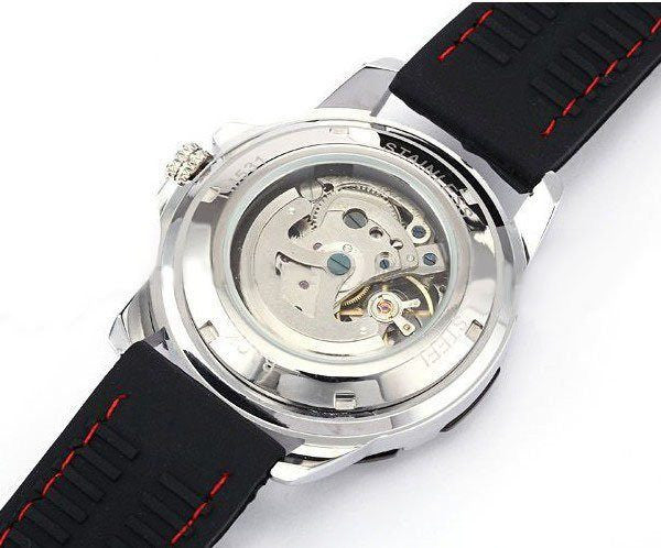 Cemophora Skeleton Premium watches With black Rubber Strap and Red Stitches  Back