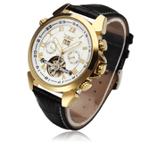 Jaguar Men's Watches Golden Case Leather Strap Front