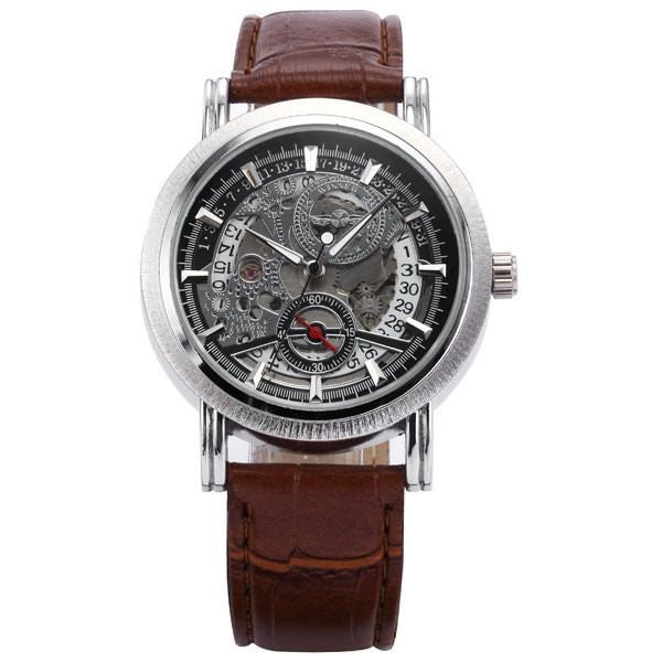 Silver Brown Watch | Men's Watches | Lord Timepieces Front