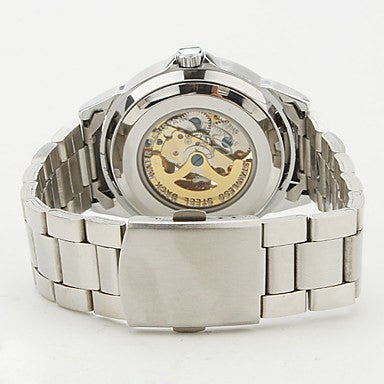 Waterloo Premium White Silver Skeleton Watch Back