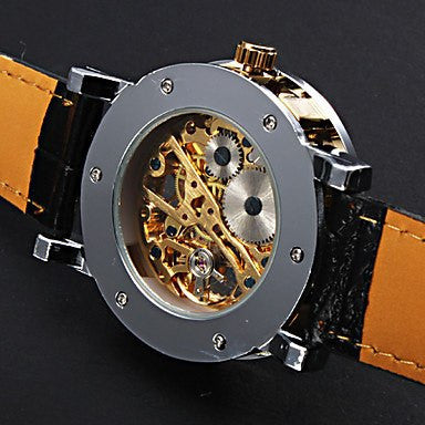 Gatsby Skeleton Premium Watch Stainless Steel Silver Case Golden Face Black Leather Strap Back