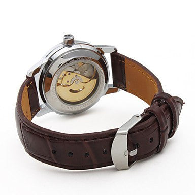 Enigma Skeleton Luxury Watch Leather Tan Strap Back
