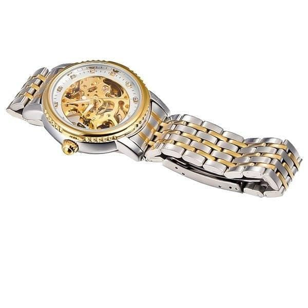 Elixir Chain Two Tone Strap Golden Silver Watch Flat