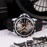 Cemophora Skeleton Premium watches With black Rubber Strap and Red Stitches  Side