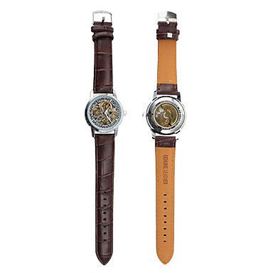 Enigma Skeleton Luxury Watch Leather Tan Strap Back and Front