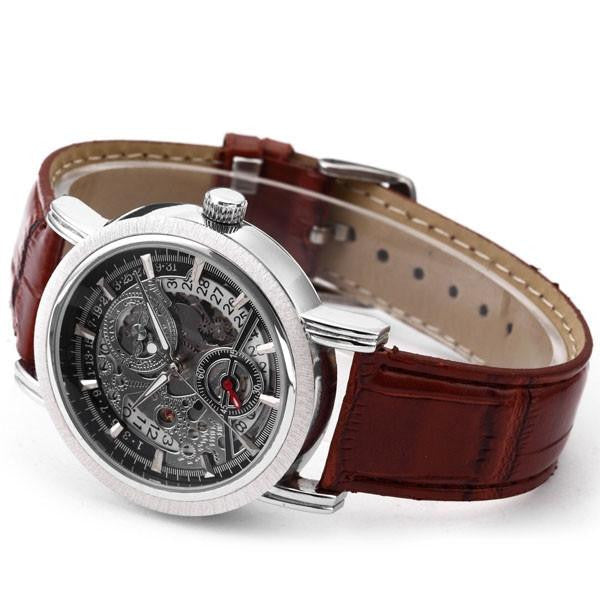 Silver Brown Watch | Men's Watches | Lord Timepieces Side