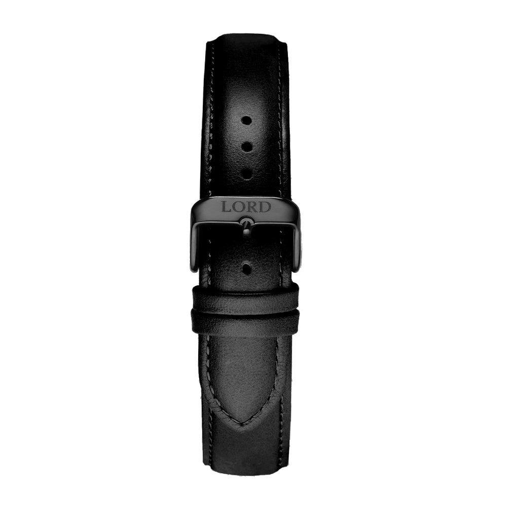 22mm black leather strap