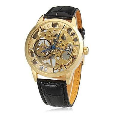 Caesar Skeleton Premium Watches Gold Dial and Black Leather Strap