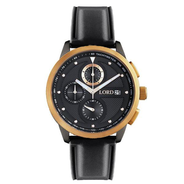 Lordtimepieces-Chrono-Rose-Gold-Black-Silicone-watch-front