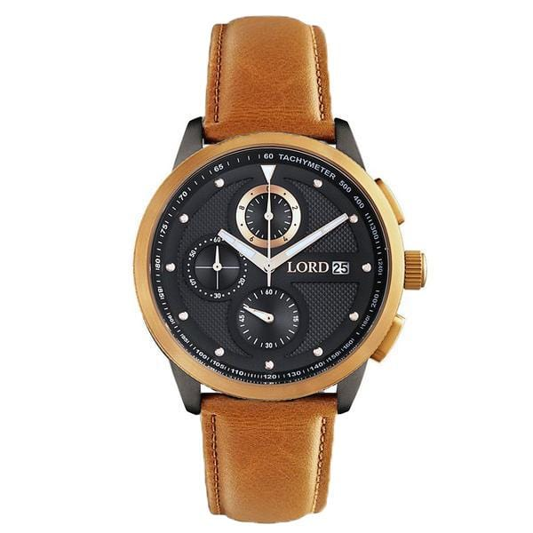 Lordtimepieces-Chrono-Gold-Tan-Leather-watch-front
