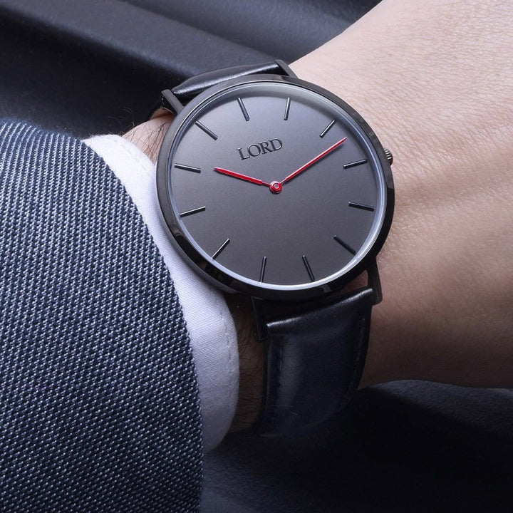 Classic Watch Red Handles On Black Face Outfit
