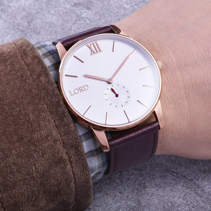 Rose Gold Brown Watch| Men's Watches | Lord Timepieces Hand