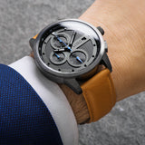 Lordtimepieces-Chrono-Gunmetal-Tan-watch-wrist-shot