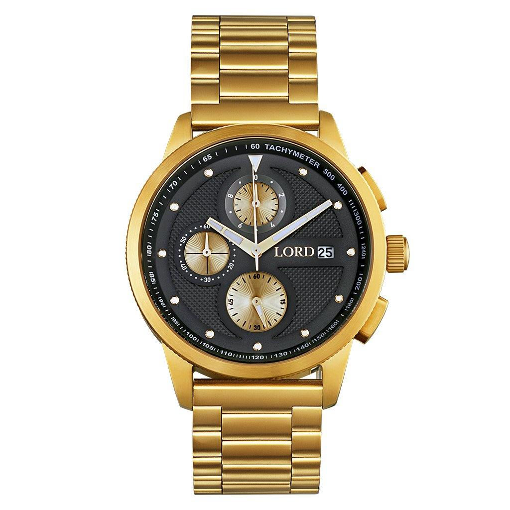 Lordtimepieces-Chrono-Gold-Black-watch-front