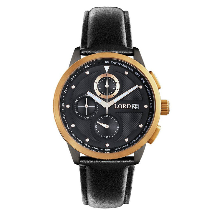 Lordtimepieces-Chrono-Rose-Gold-Black-watch-front