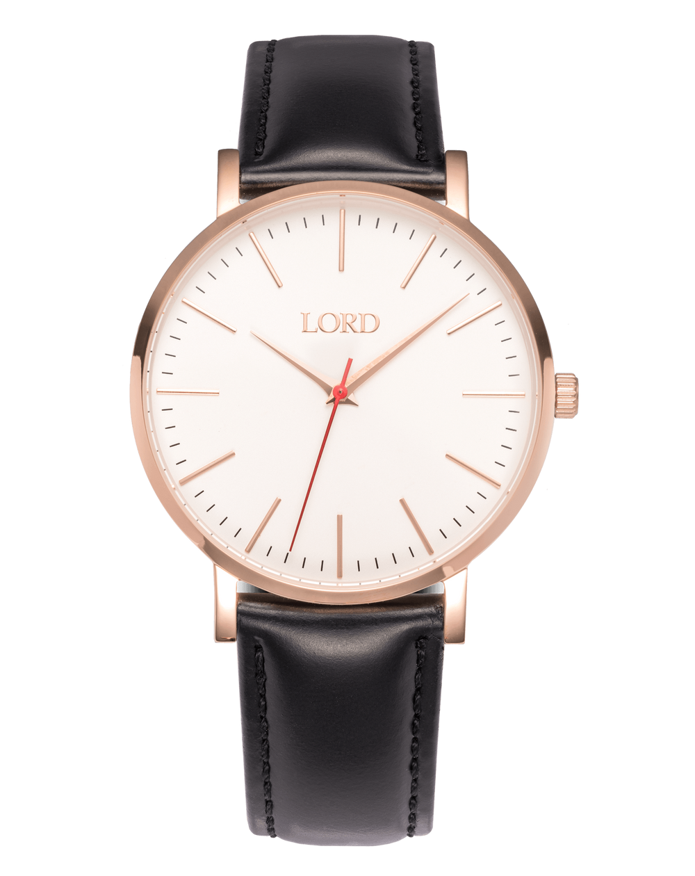 Rose Gold Black Leather Watch | Men's Watches | Lord Timepieces
