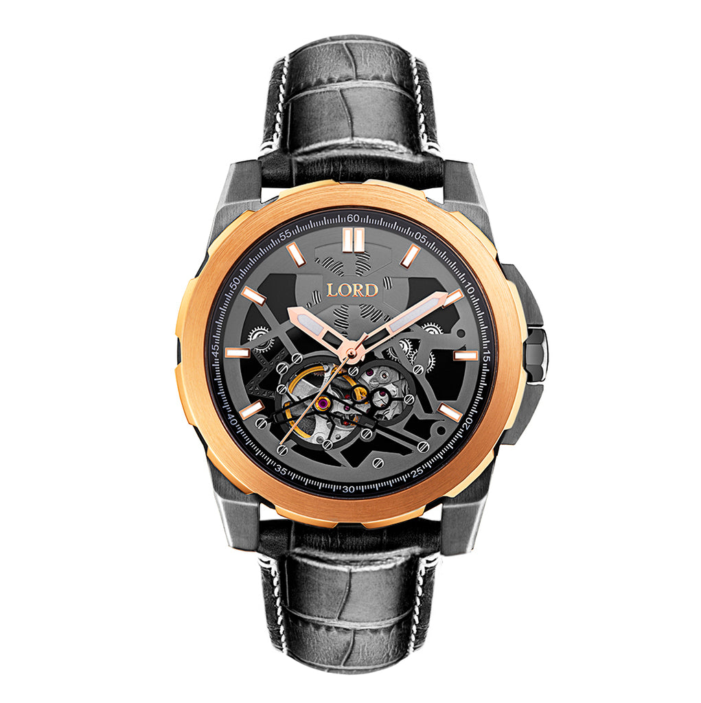 Lordtimepieces-Orion-Rose-Gold-Black-watch-Front