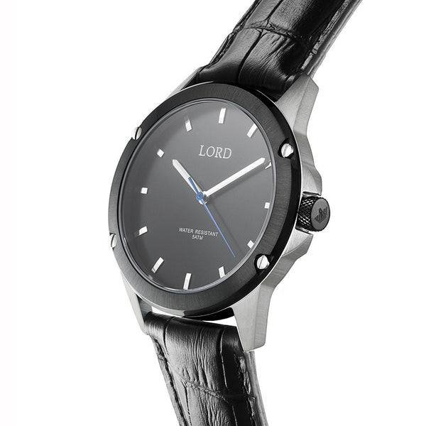 Black silver watch men 39 s watches lord timepieces for Lord timepieces
