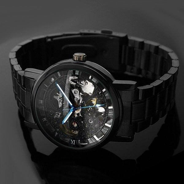 Voltaic Black Luxury Skeleton Watches Chain Strap