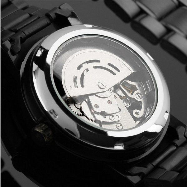Voltaic Black Luxury Skeleton Watches Chain Strap Back