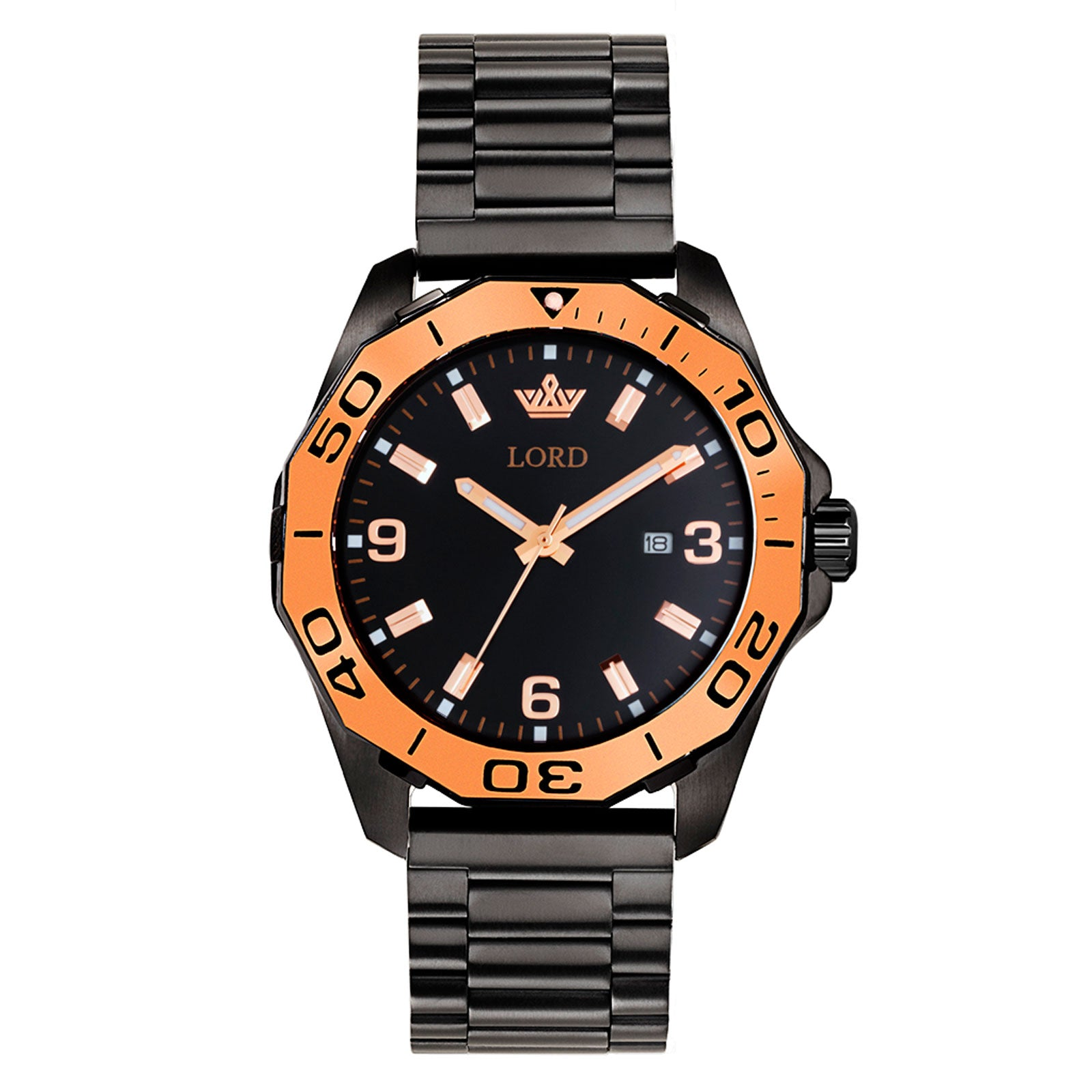Lord-timepieces-Sport-Black-Link-watch-Front