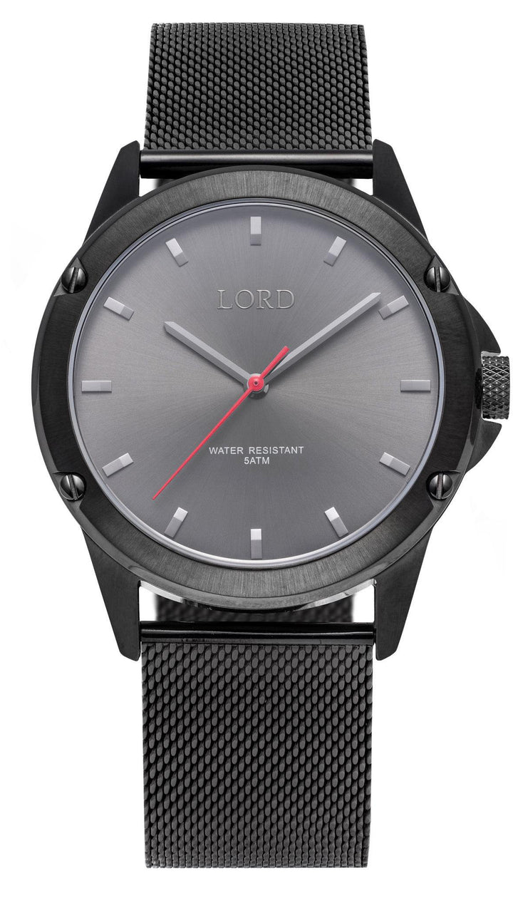 Bolt Midnight Black | Grey Stainless Steel Watch | Lord Timepieces