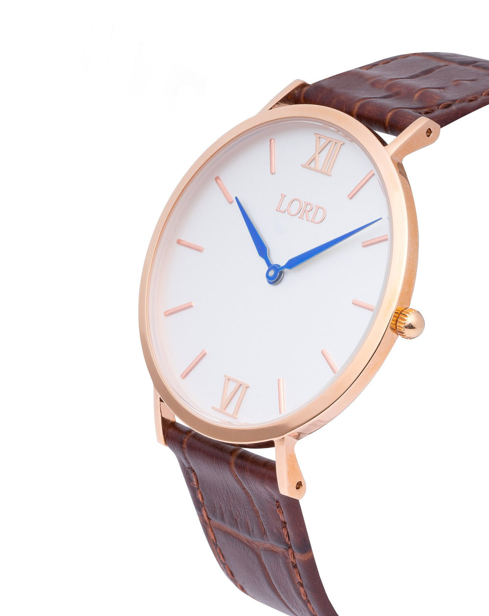Classic Brown Watches White Face Blue Hands Leather Strap