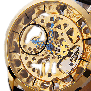 Caesar Hollow Out Premium Watches Gold Dial and Black Leather Strap