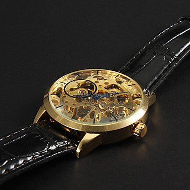 Caesar Skeleton Premium Watches Gold Dial and Black Leather Strap Details