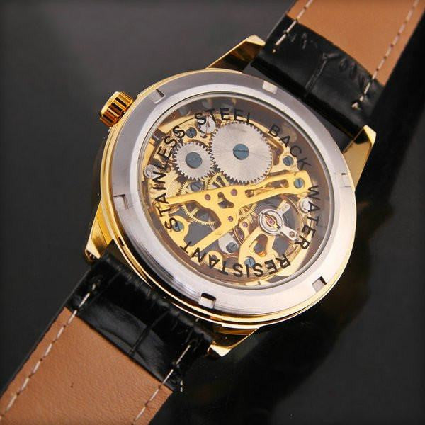 Caesar Skeleton Premium Watches Gold Dial and Black Leather Strap Back