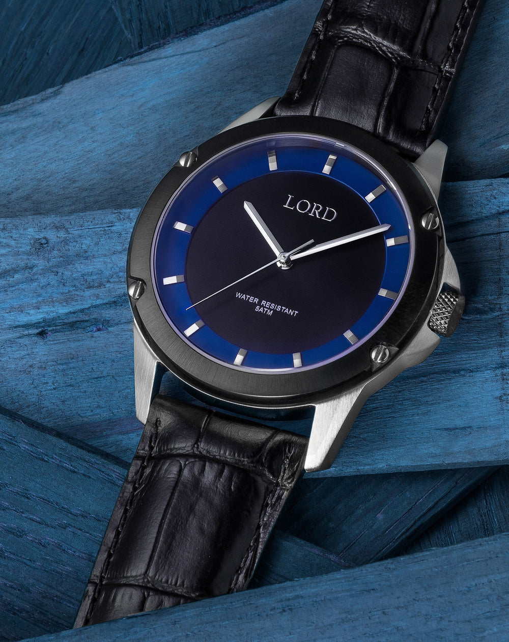 Bolt Black Blue Silver, Water Resistant Watch