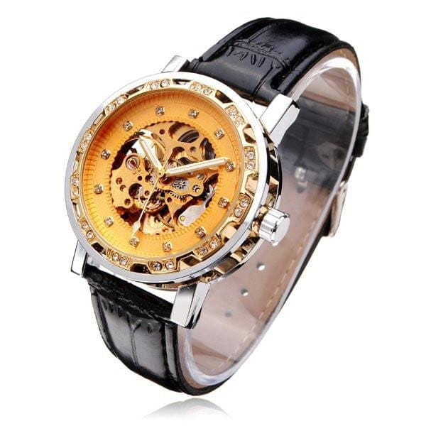 Buckingham Skeleton Watches Gold Dial and Black Leather Strap Side